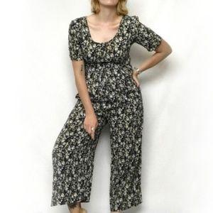 Vintage 90s Floral Romper Jumpsuit Short Sleeve